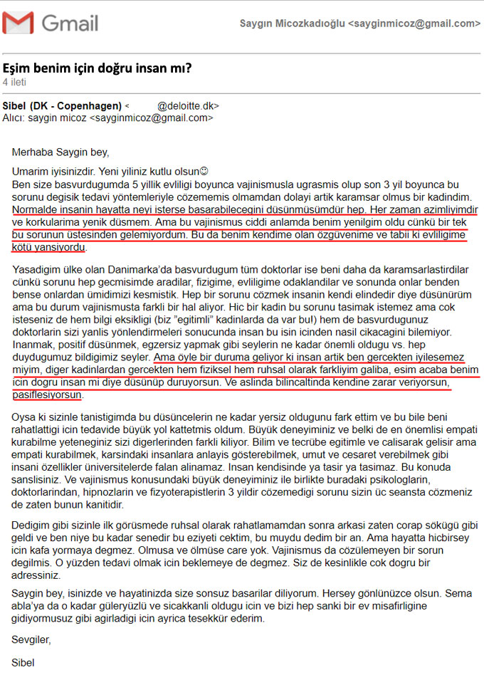 Danimarka vajinismus tedavisi Sibel Tesekkur